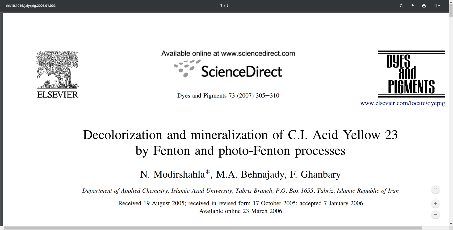 Decolorization and mineralization of C.I