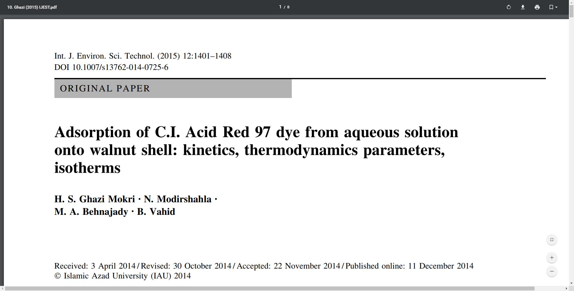 Adsorption of C.I