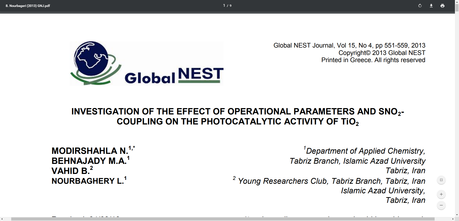 INVESTIGATION OF THE EFFECT OF OPERATIONAL PARAMETERS