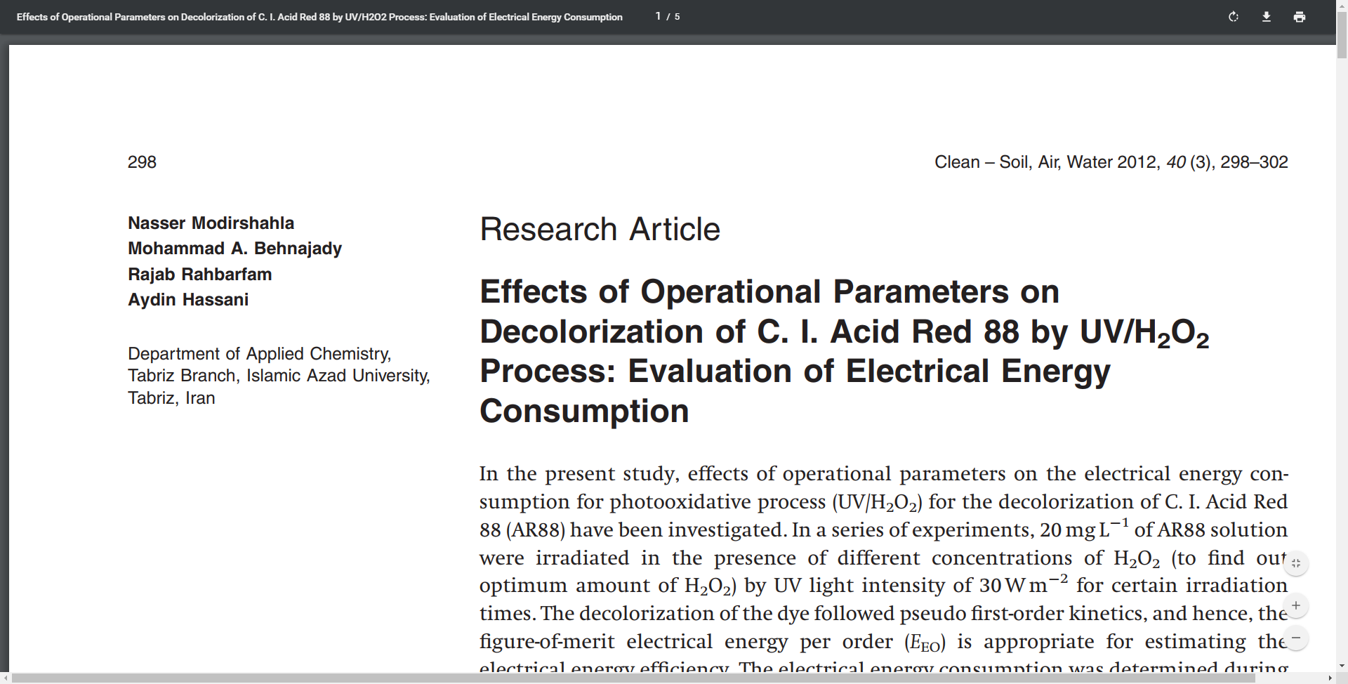 Effects of Operational Parameters on Decolorization of C. I
