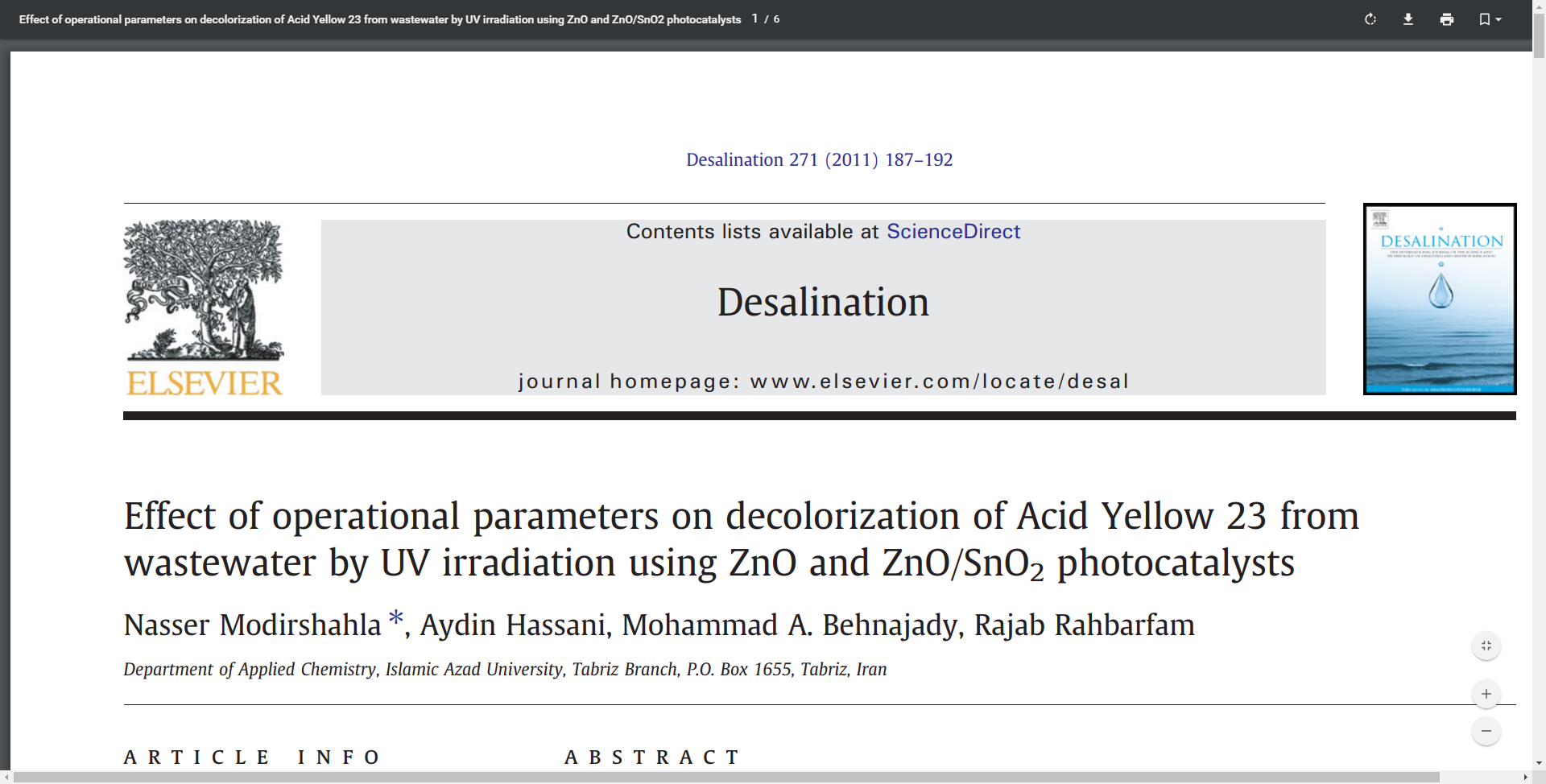 Effect of operational parameters on decolorization of Acid