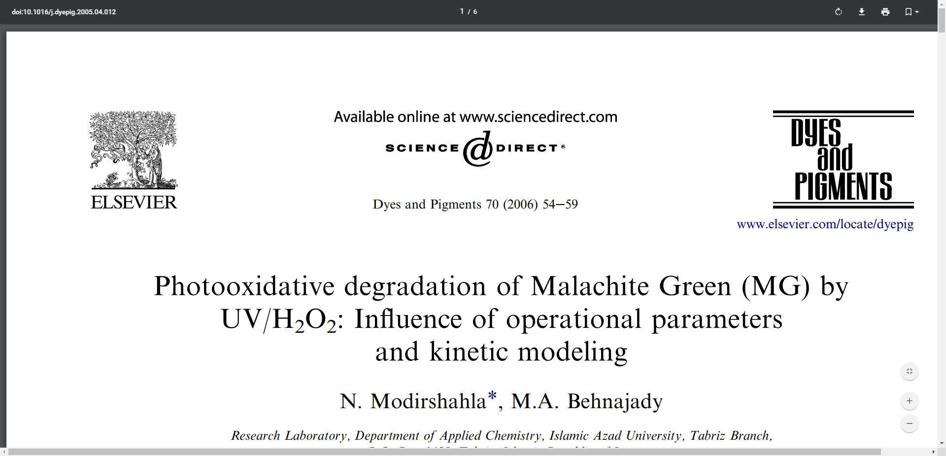 Photooxidative degradation of Malachite Green