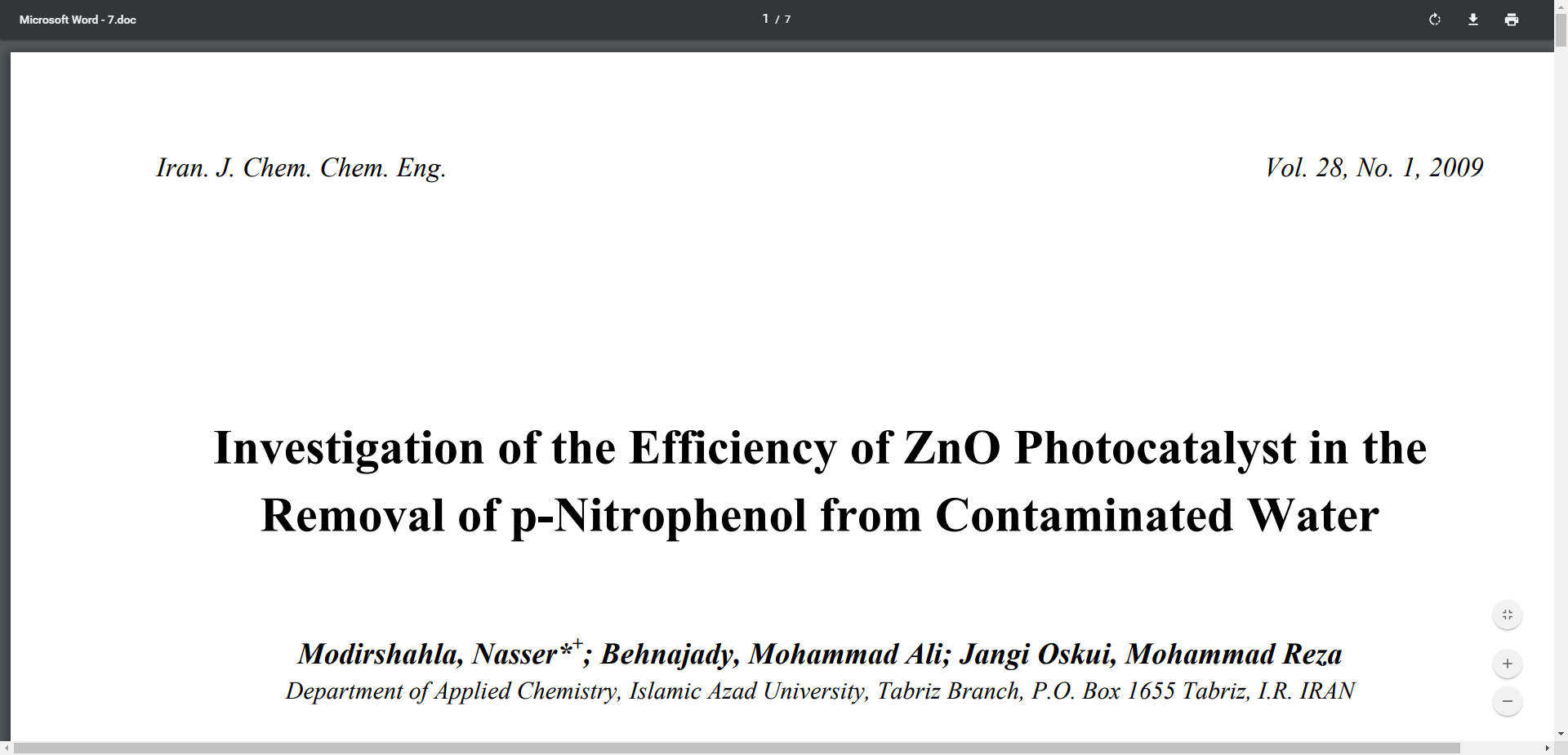 Investigation of the Efficiency of ZnO Photocatalyst